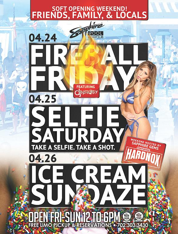 """Sapphire Pool & Day Club to host """"Friends, Family & Locals"""" Soft Opening Weekend April 24-26"""