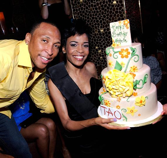 Shawn Marion and Michelle Williams inside TAO Nightclub