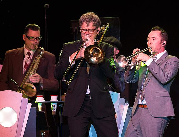The horns take over during Big Bad Voodoo Daddy's show at M Pavilion on June 24, 2017