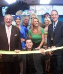Oscar Goodman, Mike Goodman, Dina Mitchell and Lincoln Spoor at Tropical Smoothie ribbon cutting at Excalibur Hotel Casino's Castle Walk Food Court