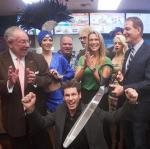 Oscar Goodman, Mike Hammer, Dina Mitchell and Lincoln Spoor at Tropical Smoothie ribbon cutting at Excalibur Hotel Casino's Castle Walk Food Court