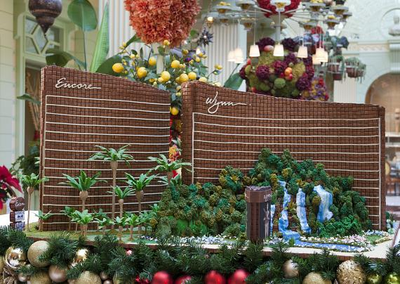 At The Buffet, an elaborate 3-foot tall gingerbread replica of Wynn and Encore was created by Wynn's award-winning cake artist Flora Aghababyan
