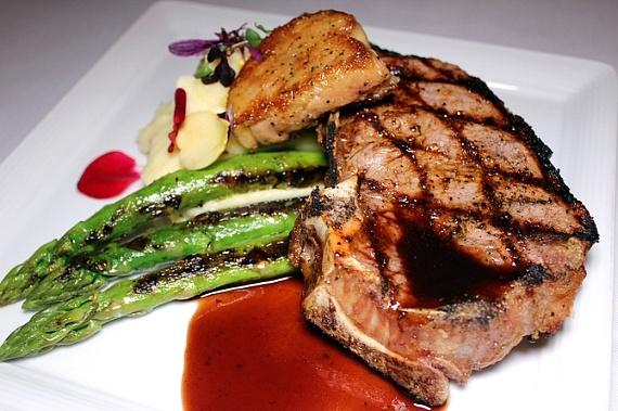 The Point of No Return - 14 oz. K.C. strip steak, foie gras, steak frites, bordelaise and asparagus