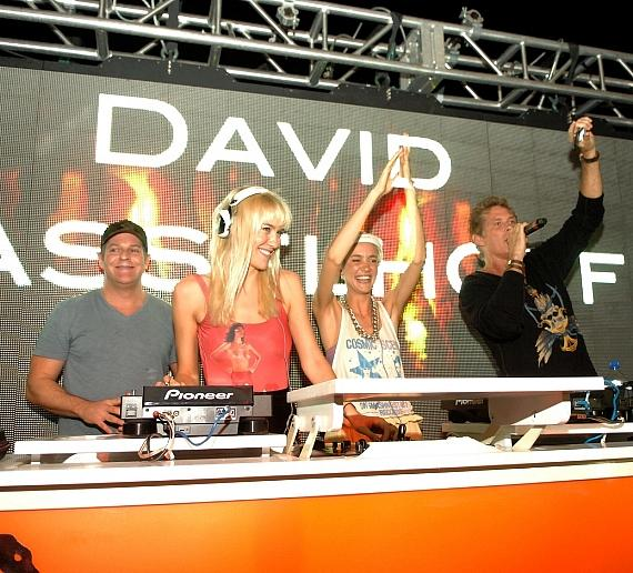 David Hasselhoff (r) with resident DJs the Nervo Twins