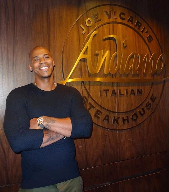 """Actor Mehcad Brooks (Jimmy Olsen on the CBS hit show """"SuperGirl"""") visits Andiamo Italian Steakhouse and the D Las Vegas"""