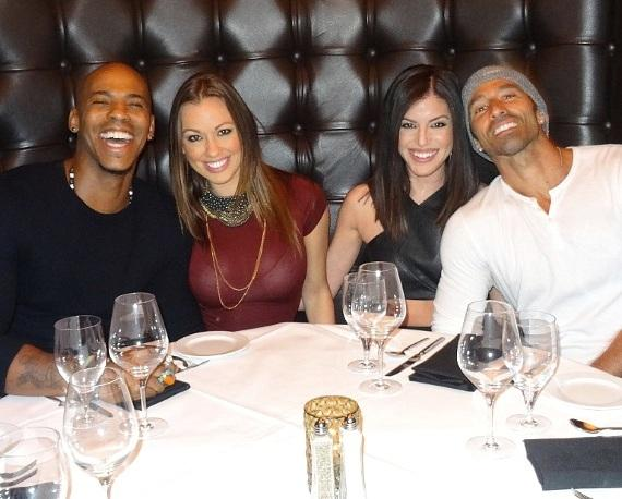 Actor Mehcad Brooks dines with friends at Andiamo Italian Steakhouse in the D Las Vegas