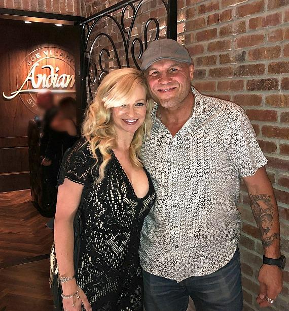 Actor and MMA legend Randy Couture with girlfriend/actress Mindy Robinson at Andiamo Las Vegas