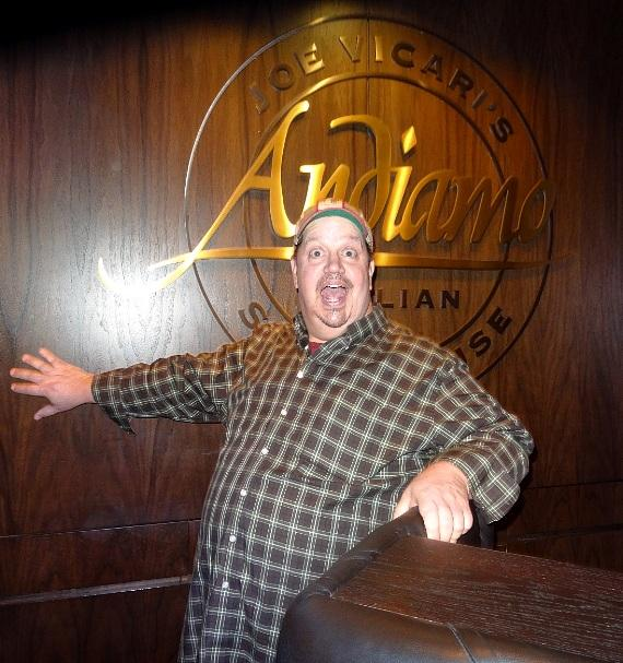 Actor/Comedian Paul Vogt of MADtv dines at Andiamo Italian Steakhouse inside the D Casino Hotel Las Vegas