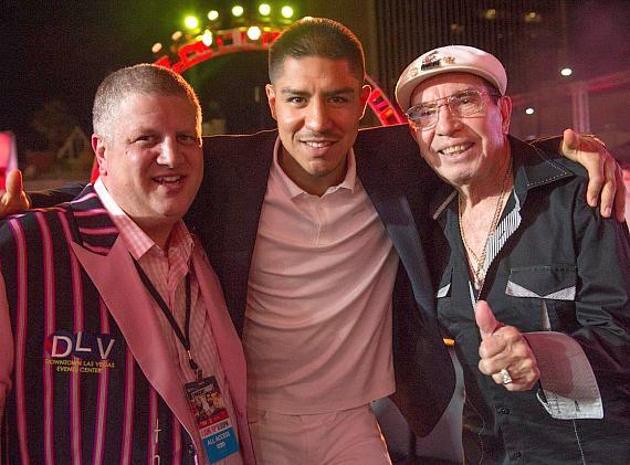 "Boxer Jesse Vargas with Owner Derek Stevens at ""Knockout Night at The D Las Vegas"""