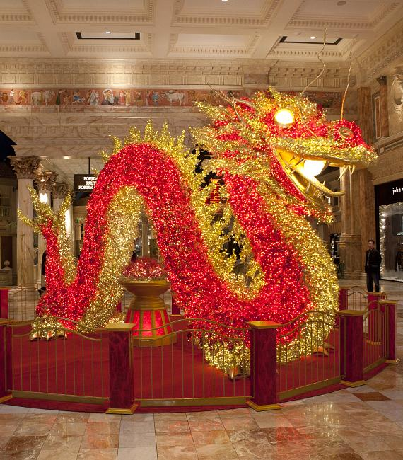 Giant Illuminated Dragon at The Forum Shops in Celebration of Chinese New Year