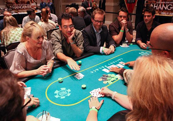 Todd Phillips and players at 'The Hangover' Poker Tournament at Caesars Palace