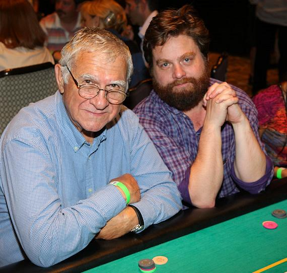 Zach Galifianakis (right) and his dad Harry at 'The Hangover' Poker Tournament