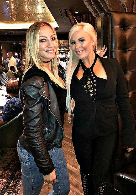 Guitarist Nita Strauss with WWE star Dana Brooke at Andiamo Italian Steakhouse in the D Casino Hotel Las Vegas