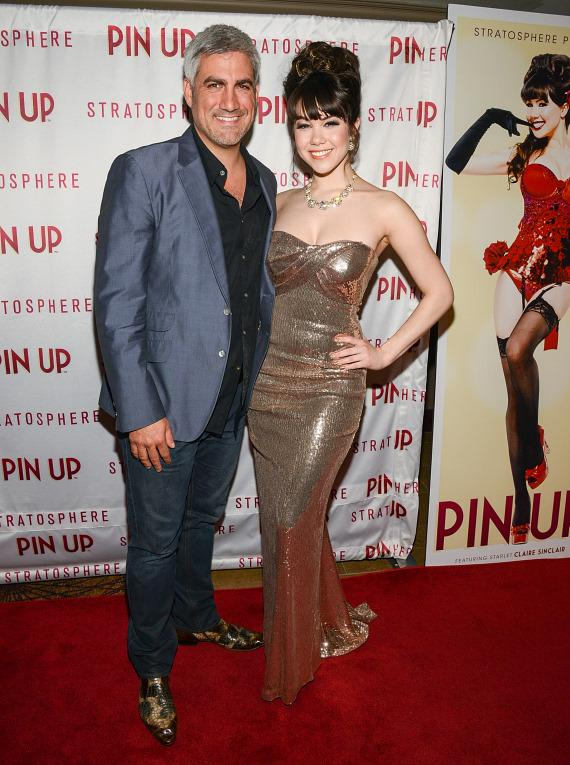 Singer Taylor Hicks with Claire Sinclair on PIN UP red carpet at The Stratosphere Casino Hotel & Tower in Las Vegas
