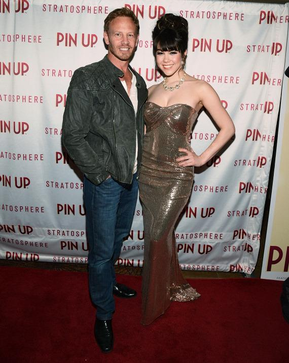 Actor Ian Ziering and Claire Sinclair on PIN UP red carpet at The Stratosphere Casino Hotel & Tower in Las Vegas