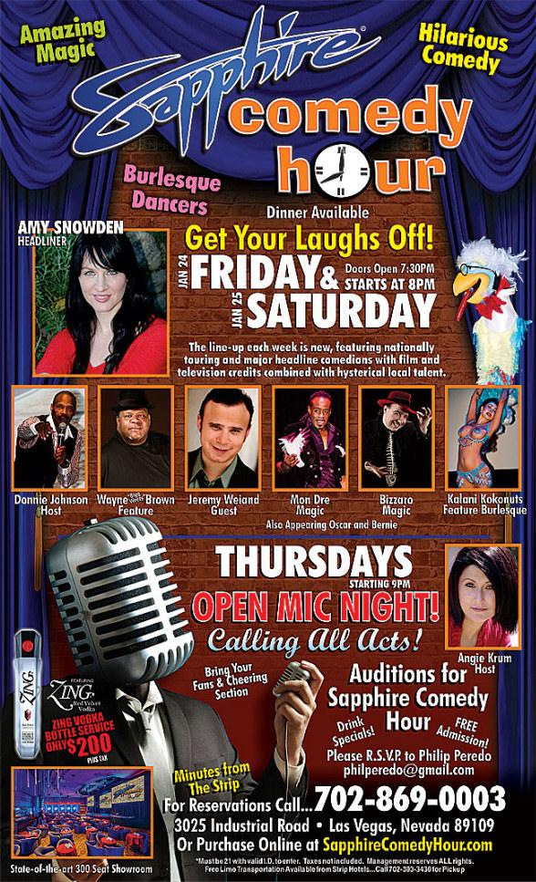 Amy Snowden to Headline Sapphire Comedy Hour at Sapphire Las Vegas Friday, Jan. 24 and Saturday, Jan. 25