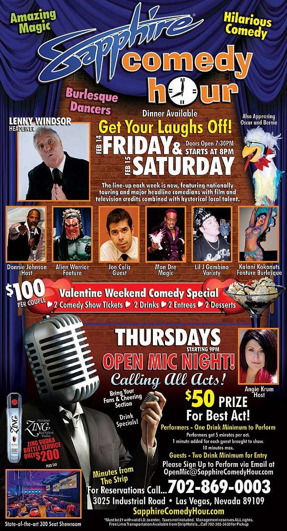 Lenny Windsor to Headline Valentine Weekend Comedy Special at Sapphire Las Vegas Friday, Feb. 14 and Saturday, Feb. 15