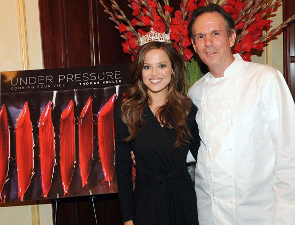 Chef Thomas Keller with current Miss America 2009 Katie Stam