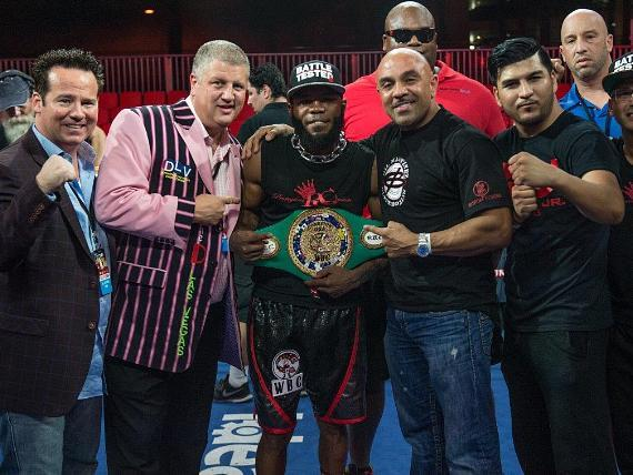 """Knockout Night at the D"" Main Event Winner Demond Brock with Owner Derek Stevens and Championship Belt at Downtown Las Vegas Events Center"
