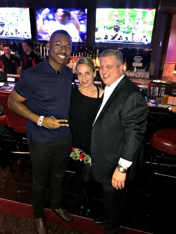 MILB Kyle Lewis poses with Derek Stevens and wife Nicole Parthum at LONGBAR in the D Casino Hotel Las Vegas