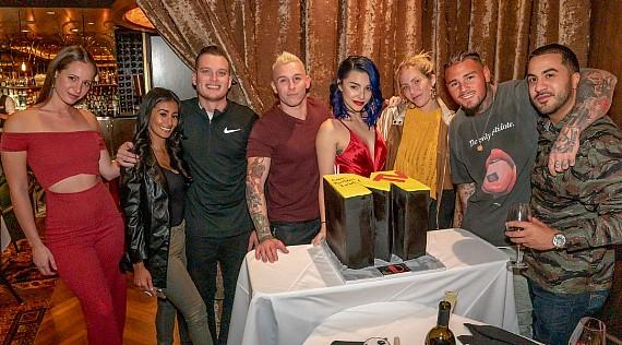 "MTV ""Real World"" and ""The Challenge"" reality TV star Kailah Casillas, Marie Roda, rapper Mikey P and friends celebrate Kailah's 26th Birthday cake at The D Las Vegas"