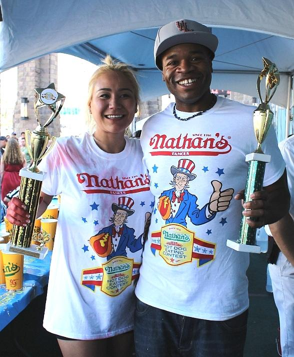 """Jeff """"The Beast Man"""" Butler and Miki Sudo were named Nevada Hot Dog Eating Champions in last year's event"""