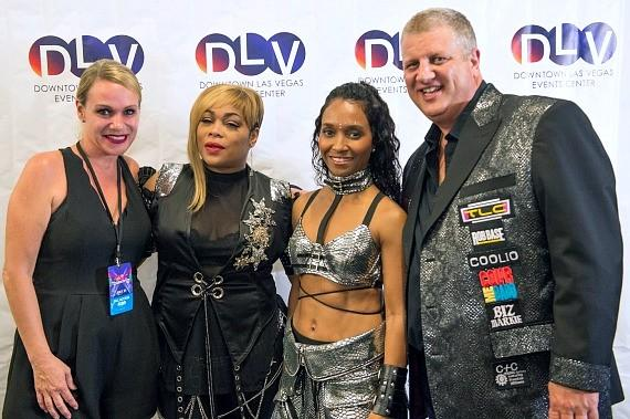 """Owner Derek Stevens (right) with wife Nicole Parthum (left) and TLC for Meet & Greet at Downtown Las Vegas Events Center for """"I Love The 90s"""""""