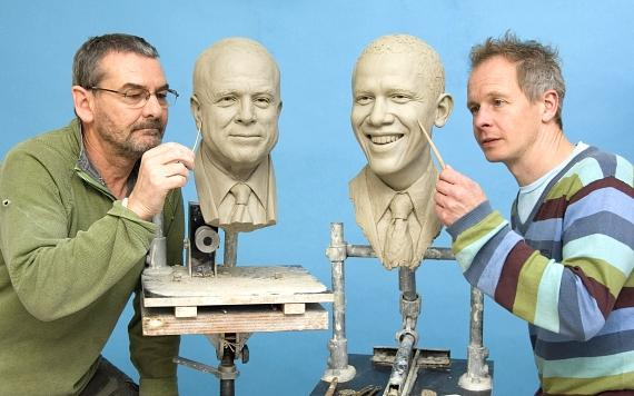 Madame Tussauds Reveals Clay Head Molds Of John Mccain and Barack Obama