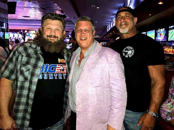 "Roy ""Big Country"" Nelson with casino owner Derek Stevens and WWE Bill Goldberg at the D Las Vegas"