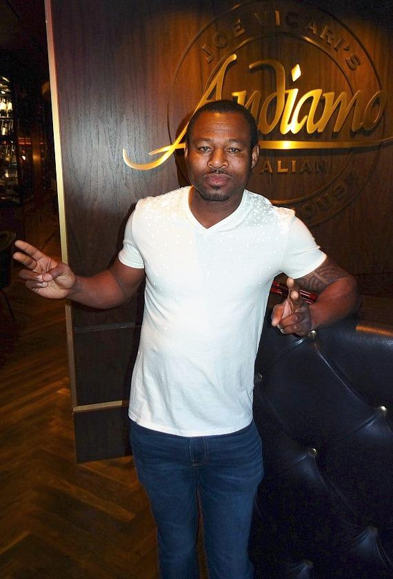 "Three-time world boxing champ ""Sugar"" Shane Mosley at Andiamo Italian Steakhouse at the D Las Vegas"