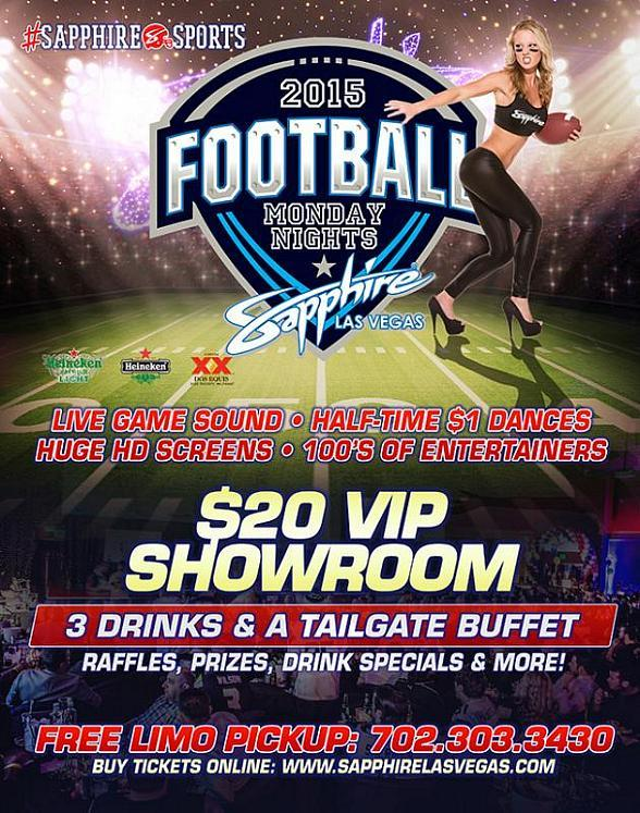Sapphire Gems host Monday Night Football (9/28) Green Bay Packers vs. Kansas City Chiefs with $1 Halftime Dances