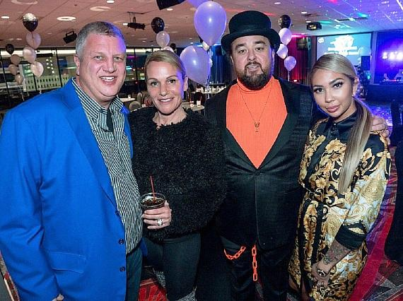 the D Las Vegas owner Derek Stevens, his wife Nicole, Pawn Stars Chumlee and fiancee Olivia Rademann at their Wedding Party