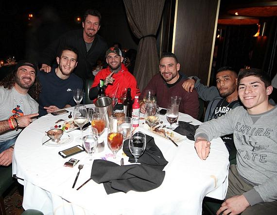 UFC fighters Clay Guida, Cody Garbrandt, Danny Castillo with the D Executive Richard Wilk (in back) at Andiamo Italian Steakhouse inside the D Casino Hotel Las Vegas