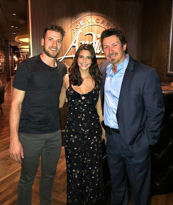 Vegas Golden Knights player Shea Theodore with girlfriend Mariana Alston and D Executive Richard Wilk at Andiamo
