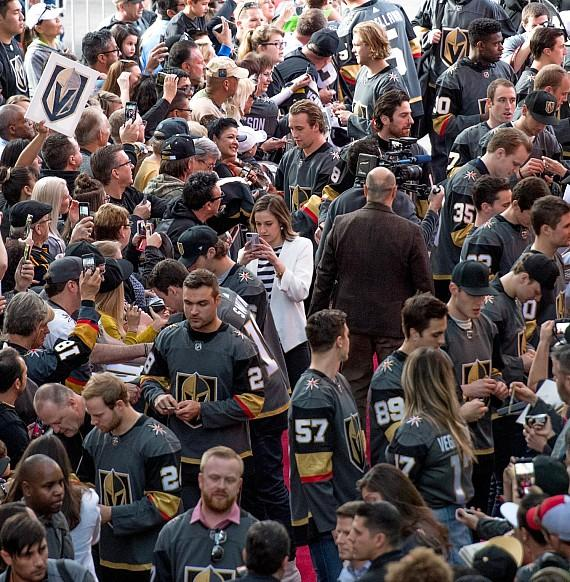 Vegas Golden Knights team signing and posing at Fan Fest on Fremont Street in Downtown Las Vegas