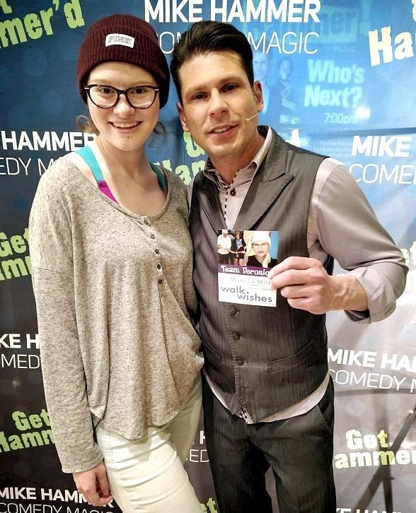 Make-A-Wish patient Veronica attends the Mike Hammer Comedy Magic Show at The Four Queens Hotel & Casino