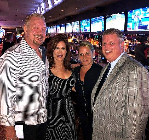 WWE Diamond Dallas Page, his wife Brenda Nair and Casino Owner Derek Stevens with his wife Nicole at the D Las Vegas