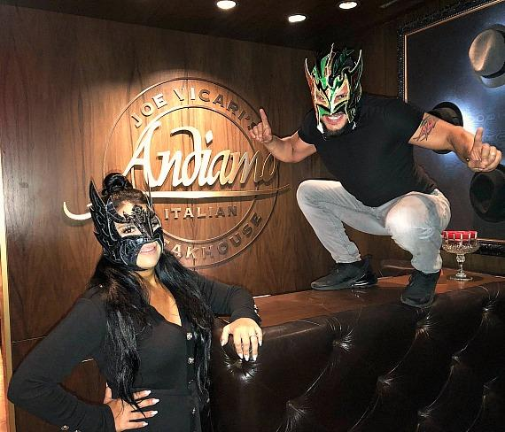 WWE Kalisto and wife Lady Lucha at Andiamo Italian Steakhouse Las Vegas