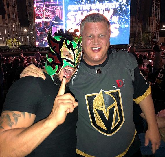 WWE Kalisto with DLVEC owner Derek Stevens at Vegas Golden Knights Watch Party
