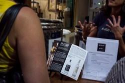 Customer reading the brochure
