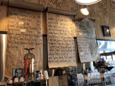 Butcher paper menu list