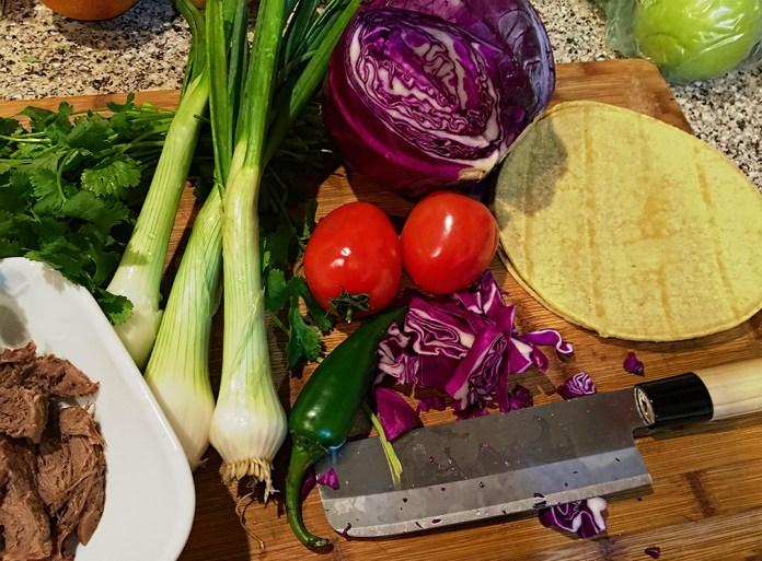 Beef tongue taco (Tacos de Lengua) ingredients