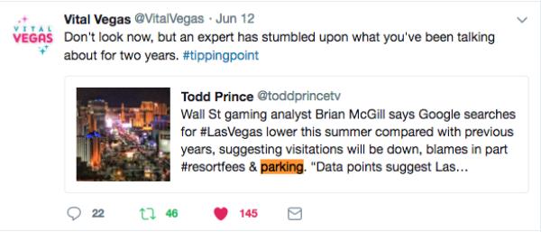 Vital Vegas Parking Tweet