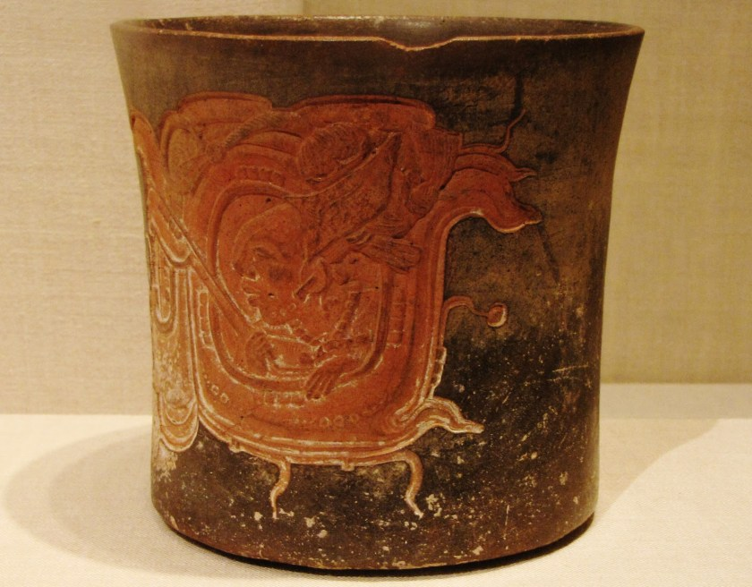 Carved Vessel Depicting a Lord Wearing a Water-Lily Headdress, ceramic and pigment, 600/800 CE, Late Classic Maya, Chocholá; Yucatán or Campeche, Mexico