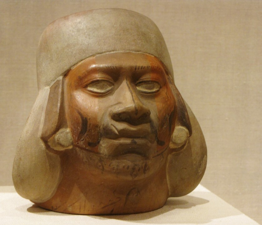 Portrait Vessel of a Young Man with a Scarred Lip, ceramic and pigment, 100 BCE/500 CE, Moche; North coast, Peru