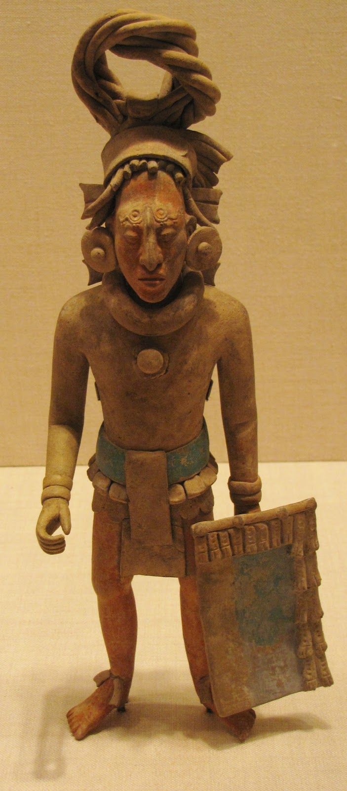 Figure of a Standing Warrior, ceramic with pigment, 650/800 CE, Late Classic Maya, Jaina; Campeche or Yucatán, Mexico
