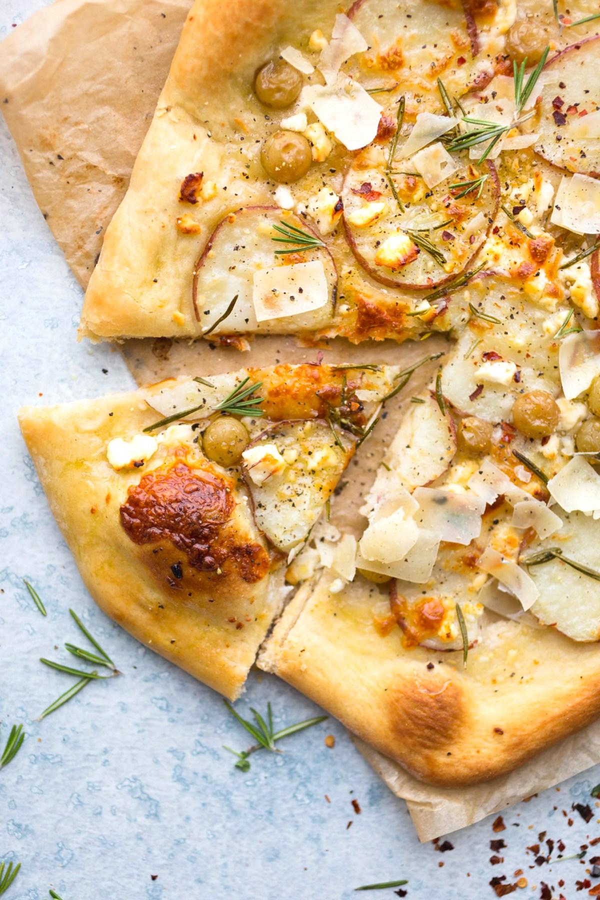 Potato Grape and Rosemary Pizza