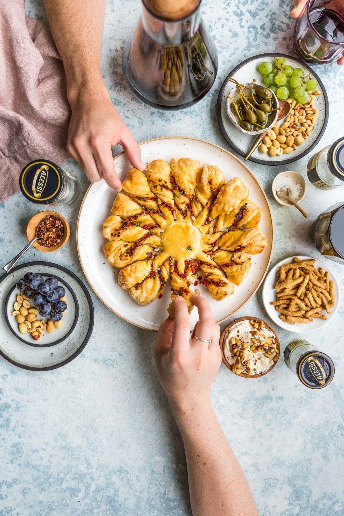 Tapenade Tarte Soleil with Pine Nut Marscapone Recipe