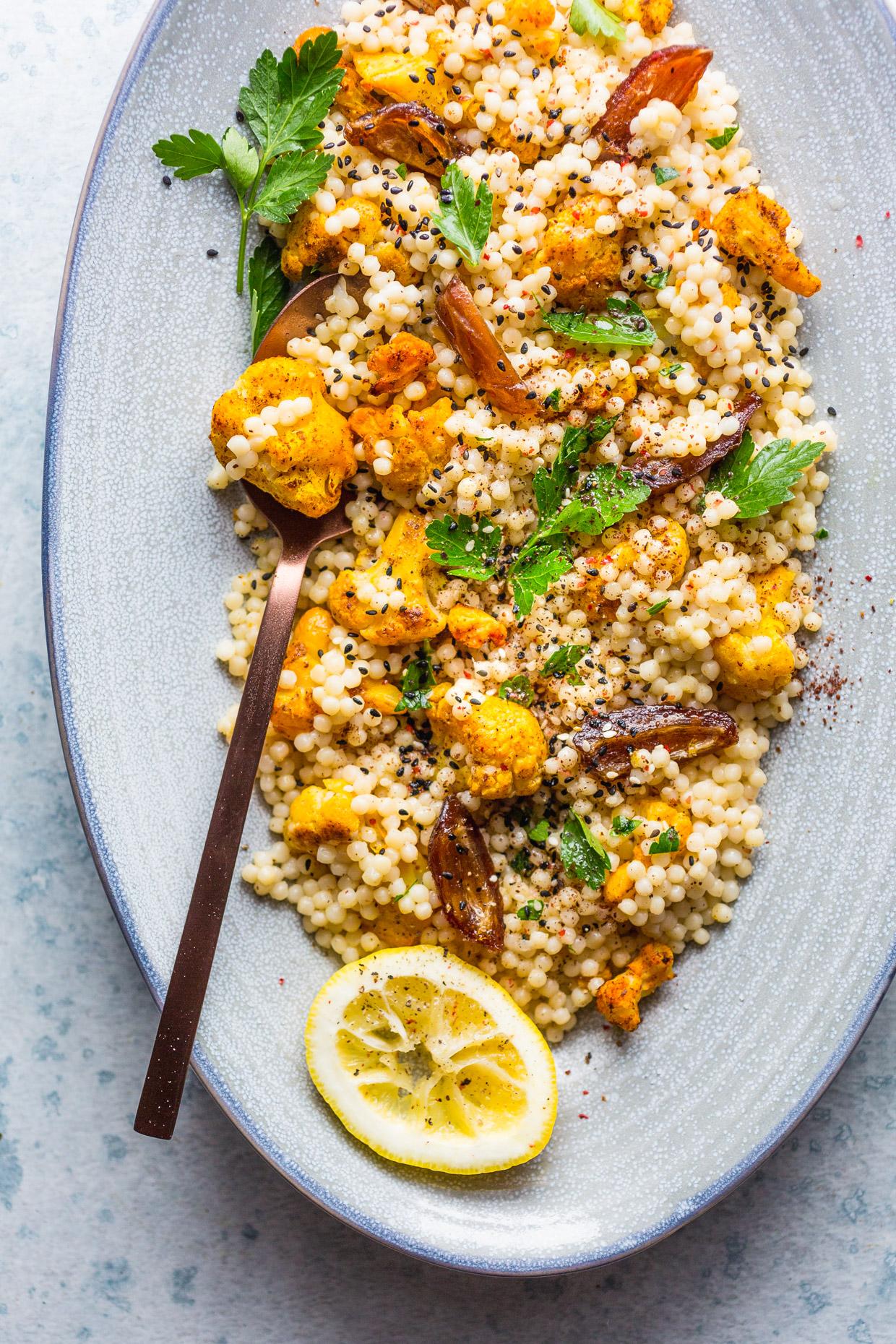 Roasted Cauliflower & Dates Couscous Salad with Creamy Tahini