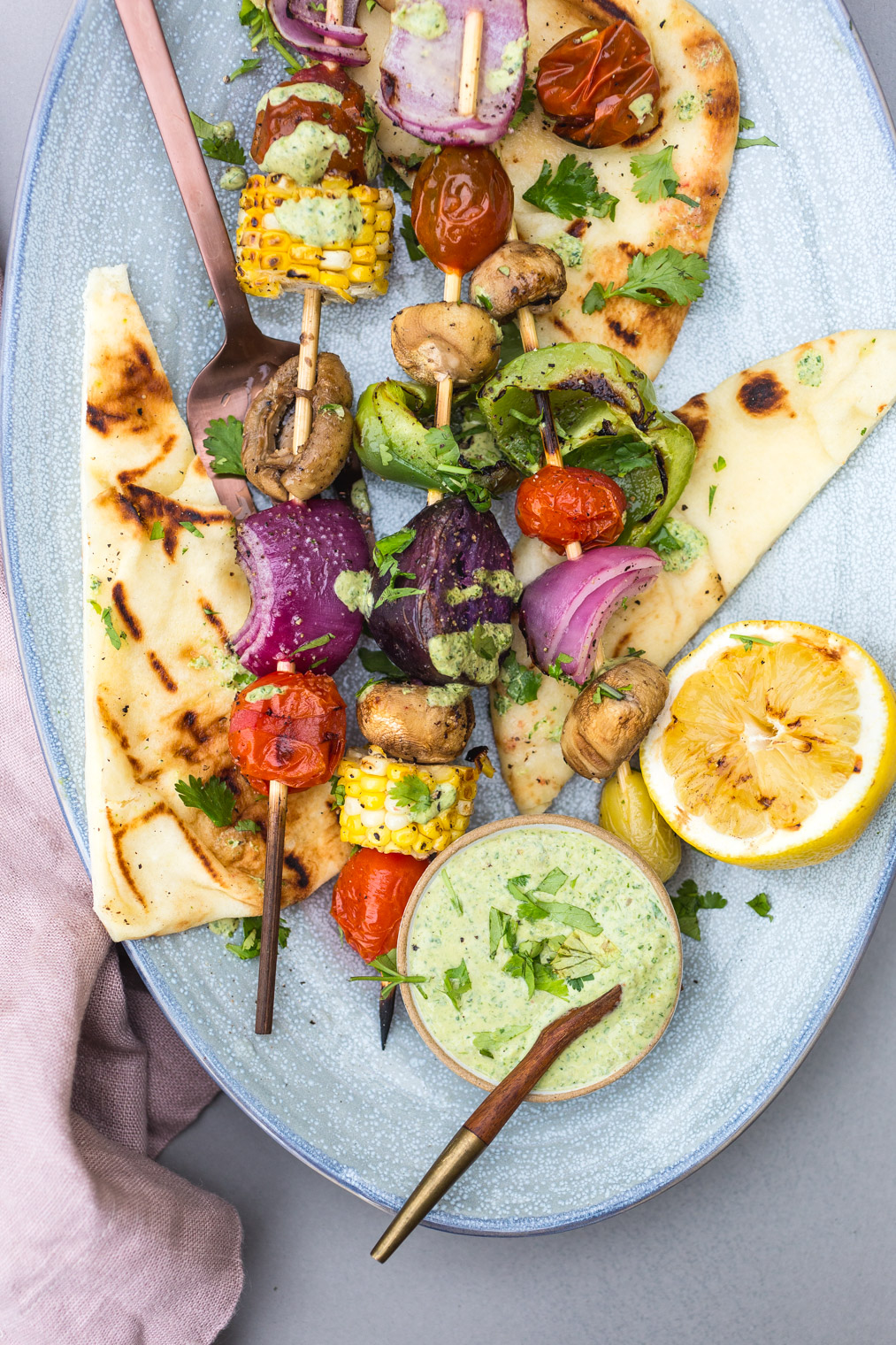 Grilled Veggies with Cilantro Yogurt Sauce & Grilled Pita